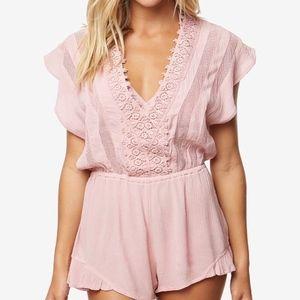 O'Neill Pink Crochet V Neck Romper Size Large